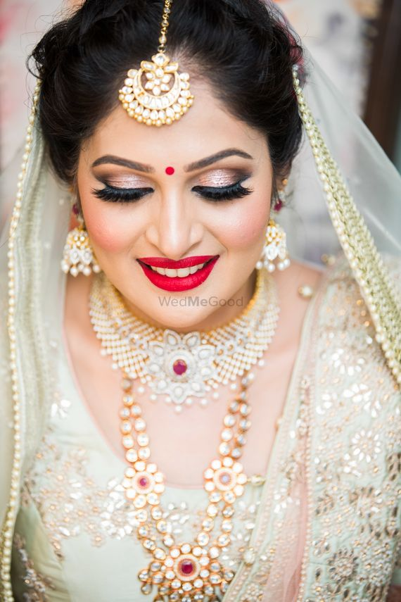 Photo Of Beautiful Rose Gold Eye Makeup With Red Lipstick