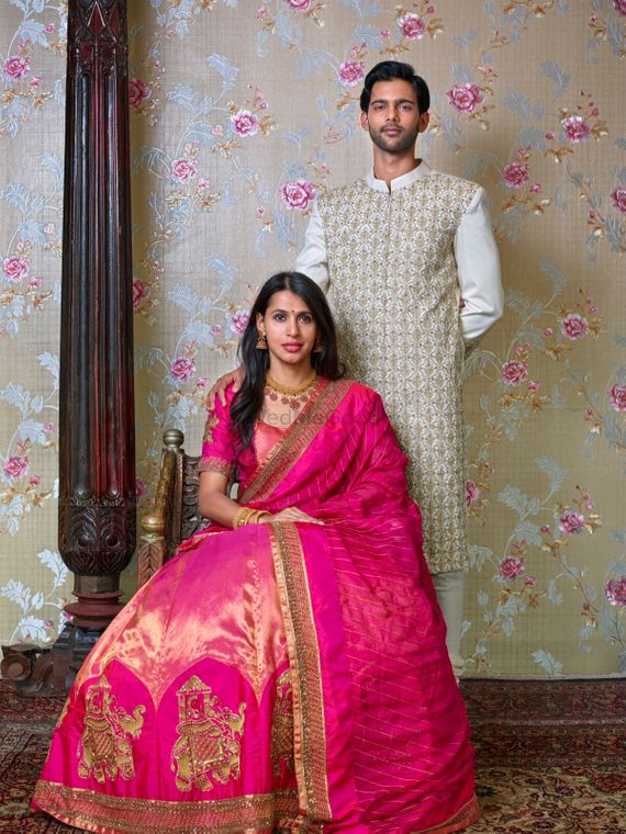 Photo of A portrait of a bride and a groom.