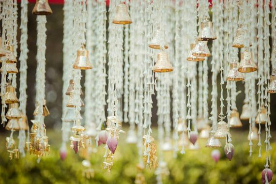 Photo of Mogra and temple bells as wedding decor