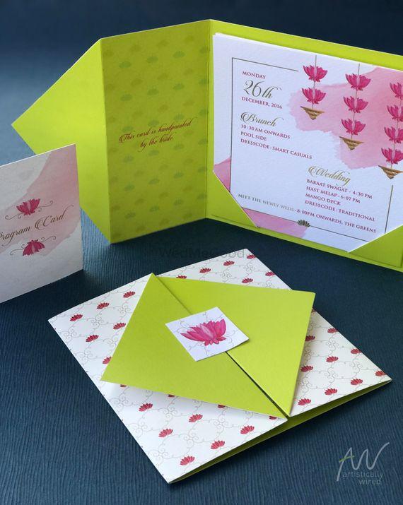 Photo of Minimal simple green popup wedding card