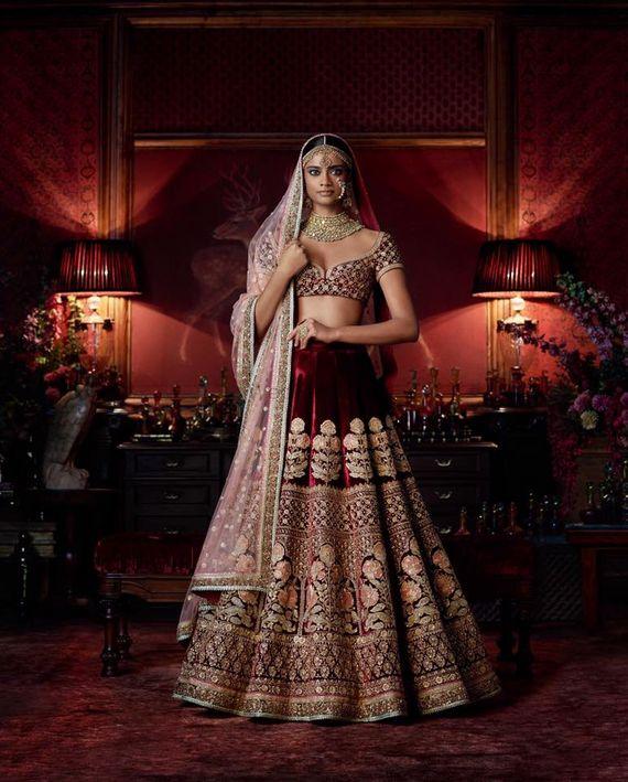 Photo of Maroon velvet sabyasachi bridal lehenga