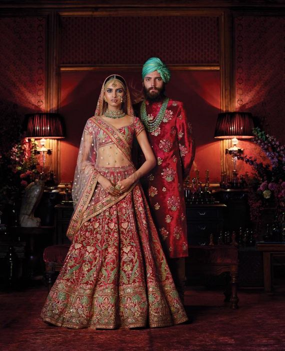 Red Outfits Photo red and mint lehenga