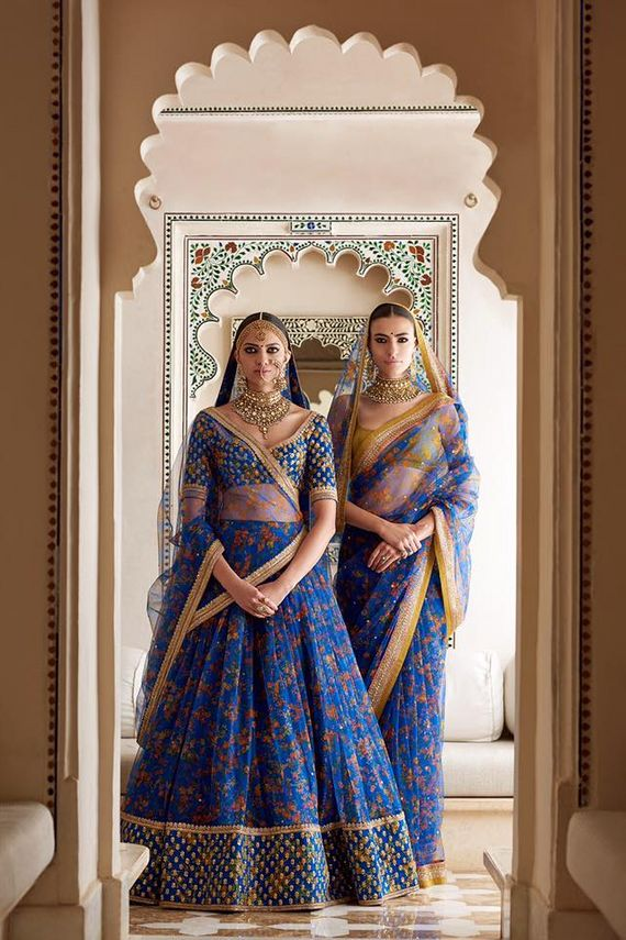 Photo of Ink blue and gold floral bridal lehenga by Sabyasachi