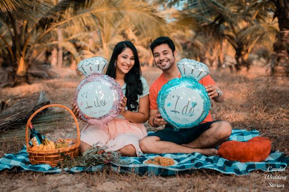 Photo of Pre wedding shoot idea with ring shaped props