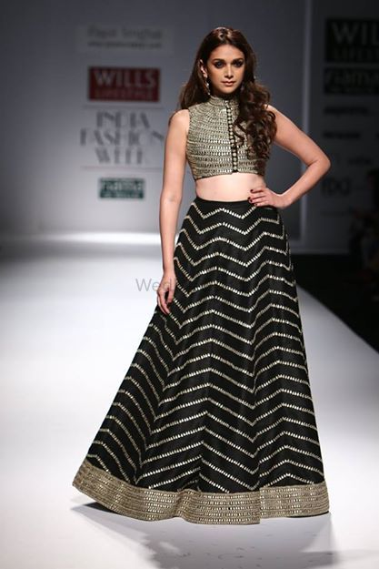 Photo of Payal Singhal black lehenga with crop top