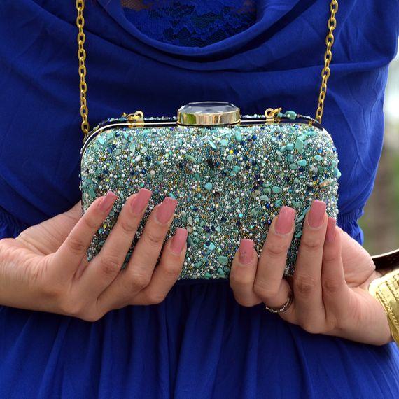 Photo of glittery shimmery blue
