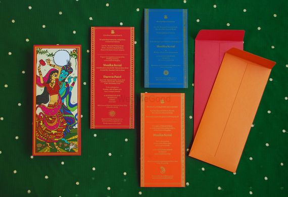 Photo of Colourful Wedding Card with Modern Gods Images