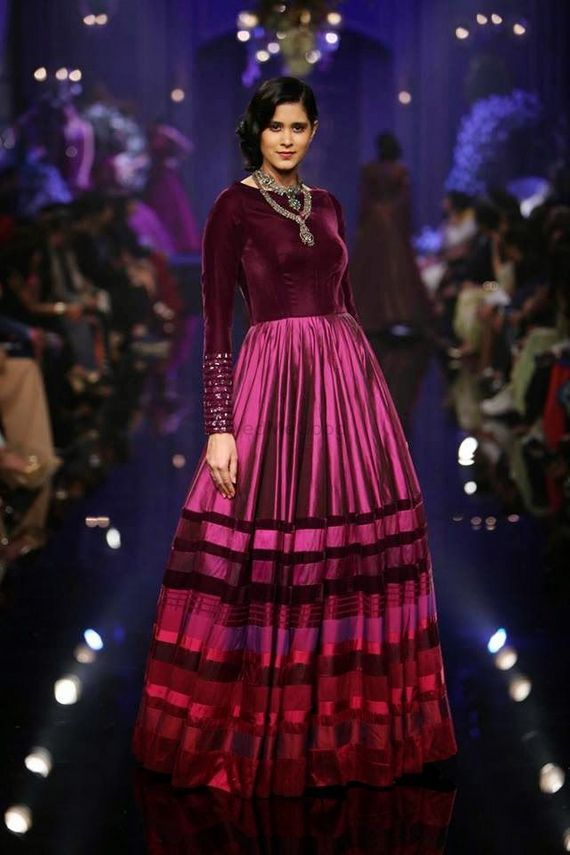 Photo of floor length purple anarkali gown