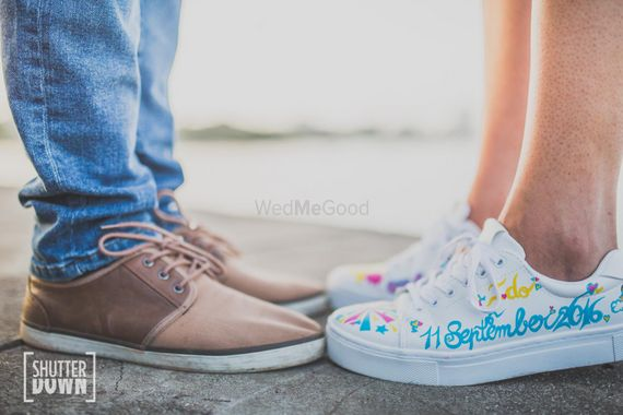 Photo of Save the date idea with date on sneaker