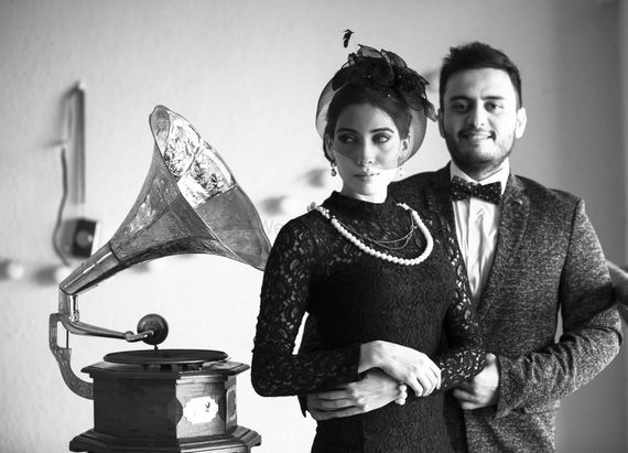 Photo of Vintage theme pre wedding with gramophone