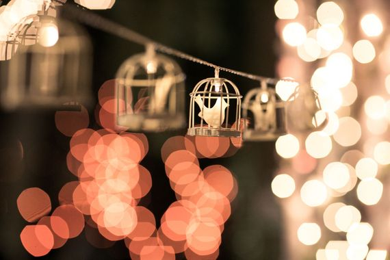 Photo of Hanging birdcage lights on string