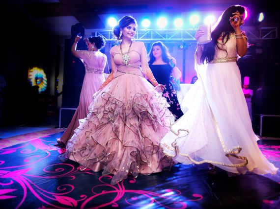 Photo of Bride in blush pink net fairytale gown for sangeet