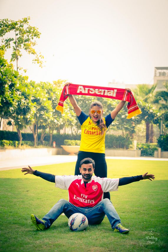 Photo of Football themed pre wedding shoot