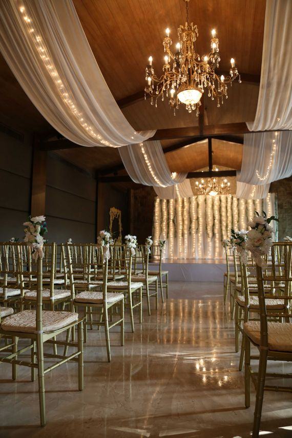 Photo of White and gold banquet decor