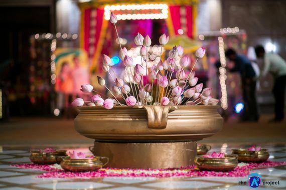 Photo of Rustic floral arrangement in brass pot