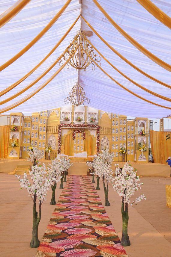 Photo of ethnic fusion theme stage decor