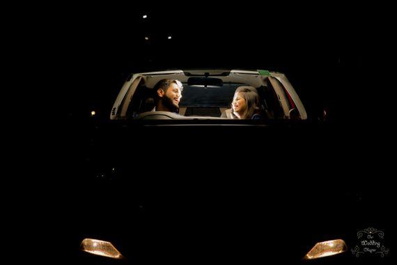 Photo of Pre-wedding couple shot in car