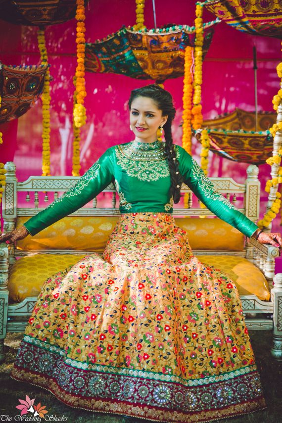 Photo of Yellow and green lehenga for mehendi with full sleeved blouse