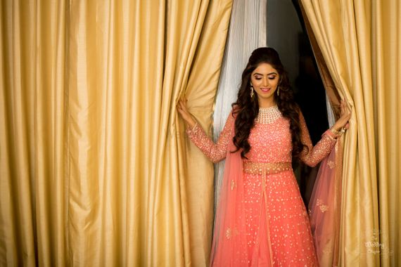 Photo of Peach light lehenga for engagement outfit
