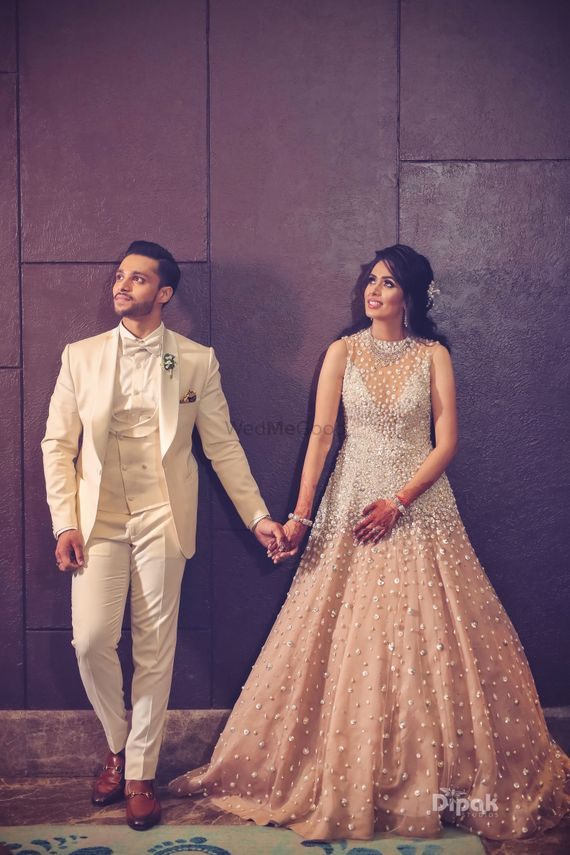 Photo of Sangeet or cocktail gown in peach