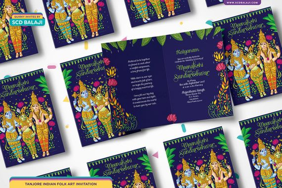 Traditional Tamil Brahmin Wedding Invitation Quirky