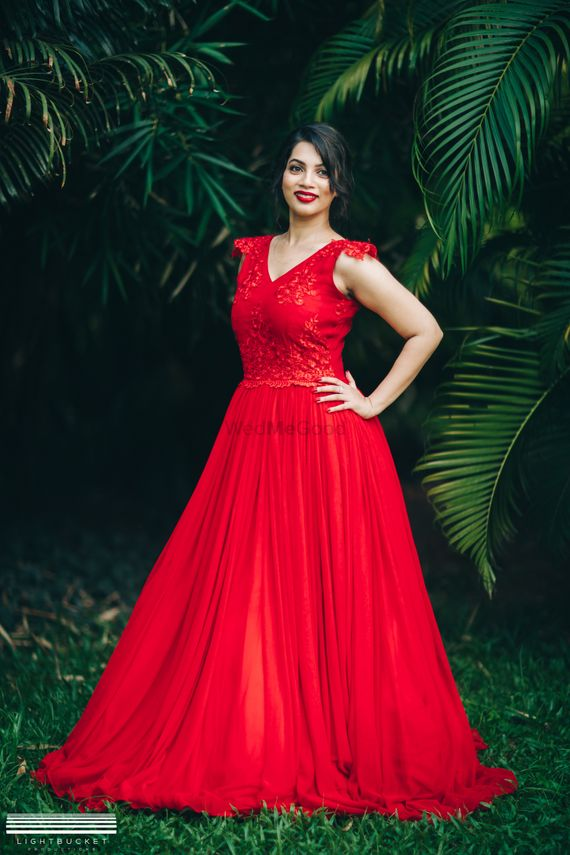 Photo of Red flared gown for pre wedding shoot