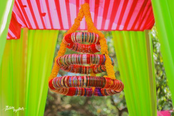 Photo of Bangle chandelier for mehendi decor
