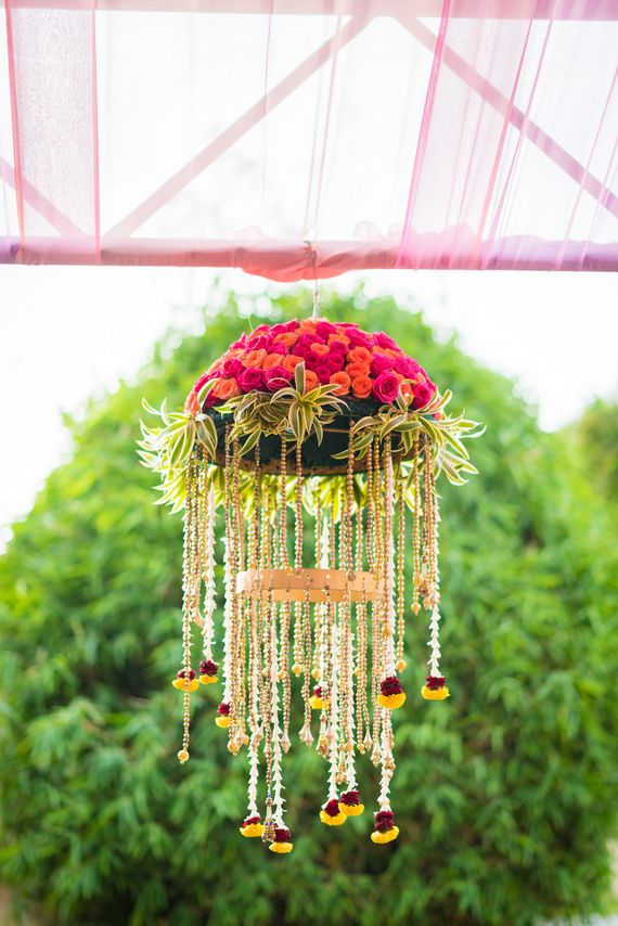 Photo of Suspended floral arrangement for wedding