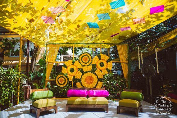 Photo of Bright and colorful mehendi decor