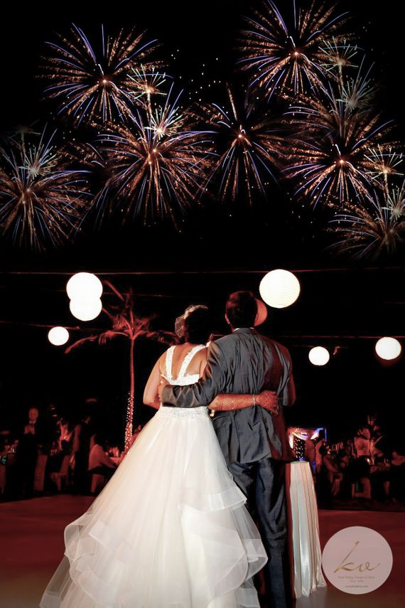 Photo of A Christain couple watches crackers in the sky.
