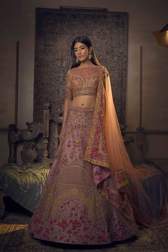 Photo of Shades of pink lehenga with gold detailings