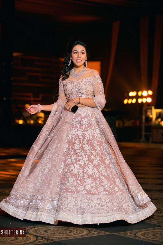 Photo of Cocktail lehenga with off shoulder blouse