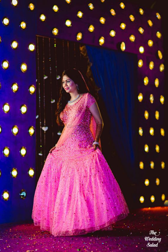Photo of shimmery candy pink gown