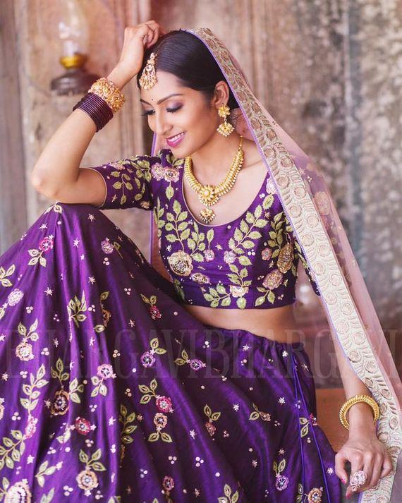 Photo of Purple silk lehenga with pink dupatta