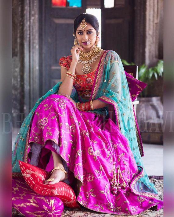 Photo of Colorblocked bridal lehenga