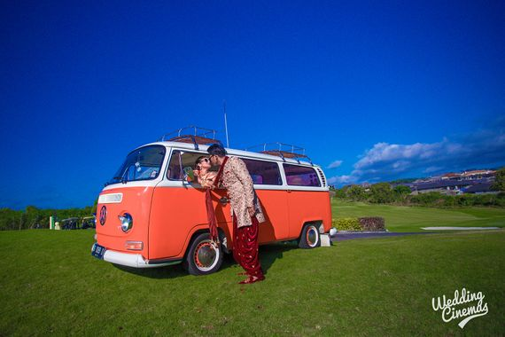 Photo of Couple entry or exit in cool mini bus
