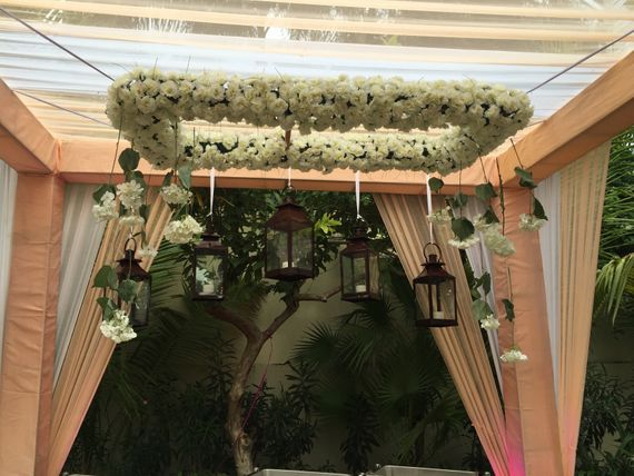 Photo of floral chandeliers