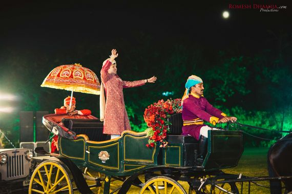 Photo of Groom entry idea on chariot