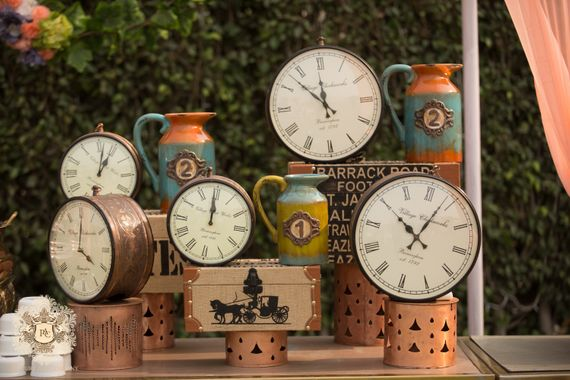 Photo of Unique vintage clocks and trunks themed decor for a day function