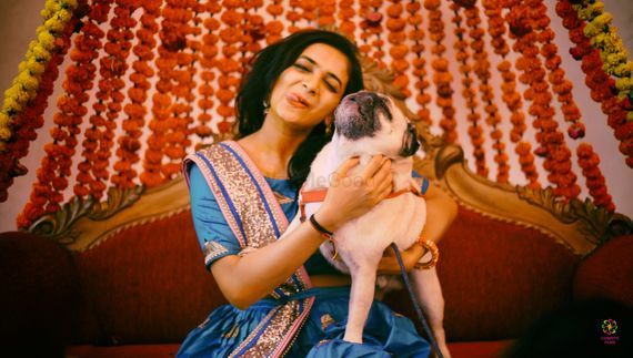 Photo of Bridal portrait with dog on mehendi