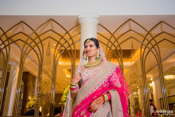 Photo of Bridal portrait idea in bright pink outfit