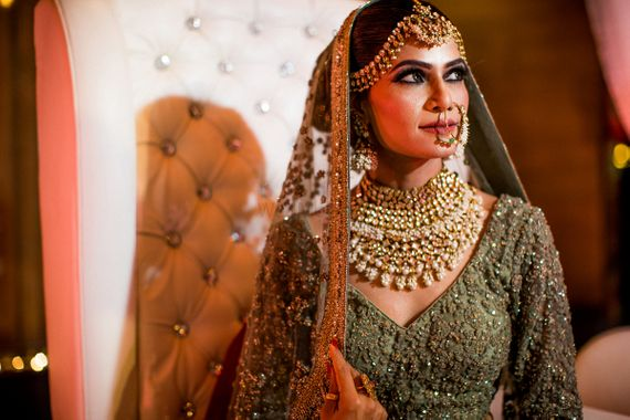 Photo of Royal bridal portrait in offbeat bridal lehenga and jewellery