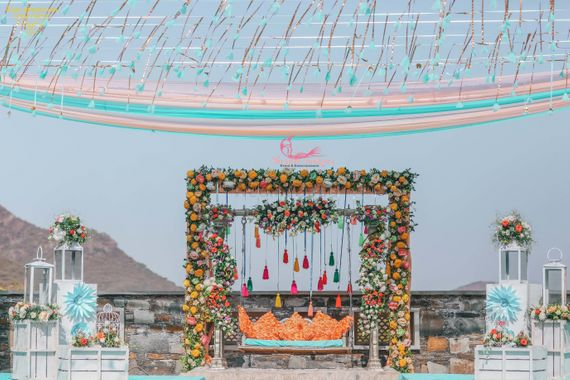 Photo of Mehendi bridal seat poolside decor