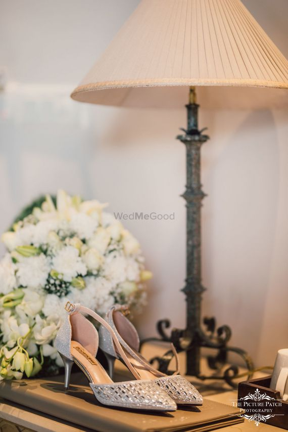 Photo of Silver bridal heels with mirror work
