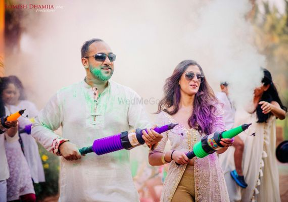 Photo of Mehendi holi party couple portrait