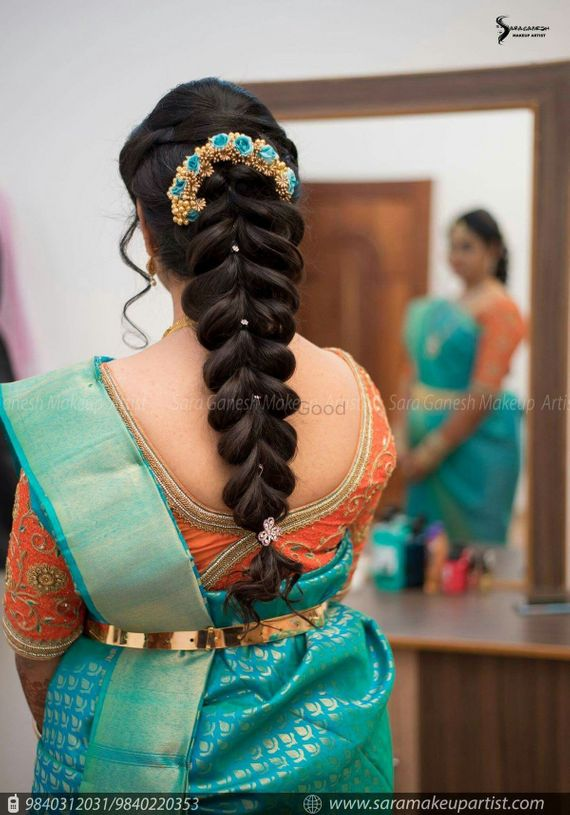 Photo Of Fishtail Braid Hairstyle For South Indian Bride