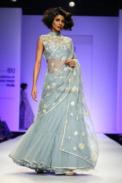 Photo of powder blue net saree