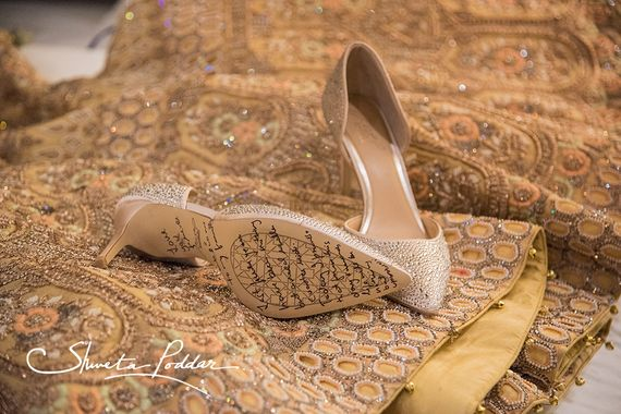 Photo of Bridal shoes with message on the sole