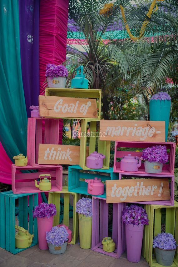 Photo of A DIY-floral arrangemenet corner at a wedding