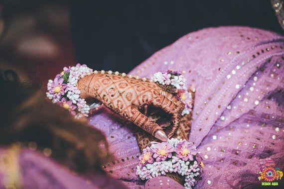 Photo of Floral haathphool mehendi jewellery in lilac